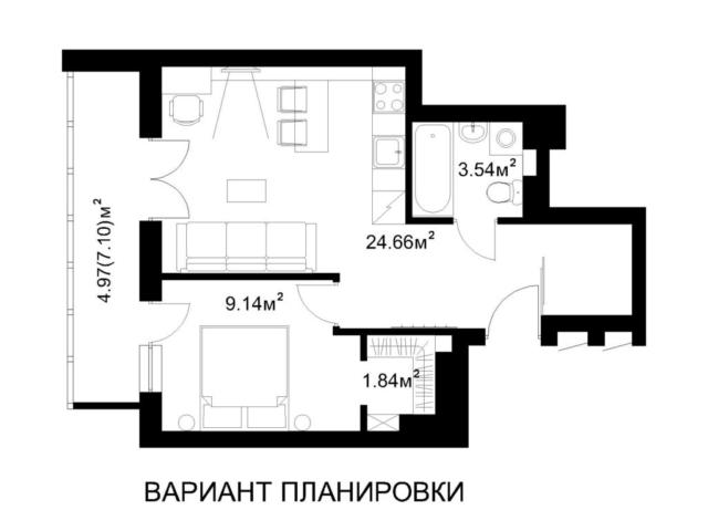 Маяк Минска. Дом Dana Tower 3.2. 1-комнатная квартира 1А. Вариант планировки