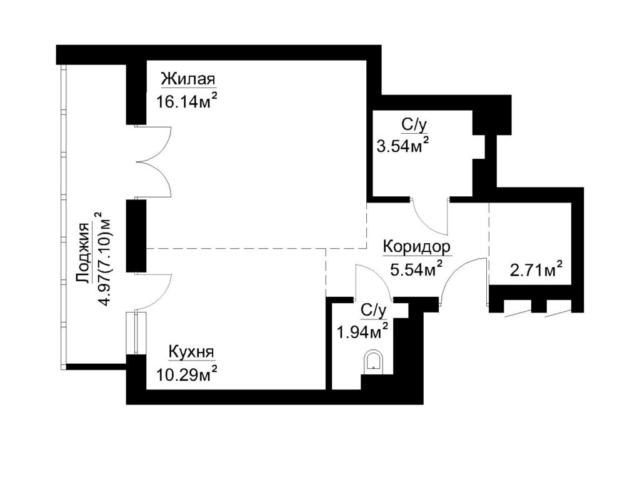 Маяк Минска. Дом Dana Tower 3.2. 1-комнатная квартира 1А